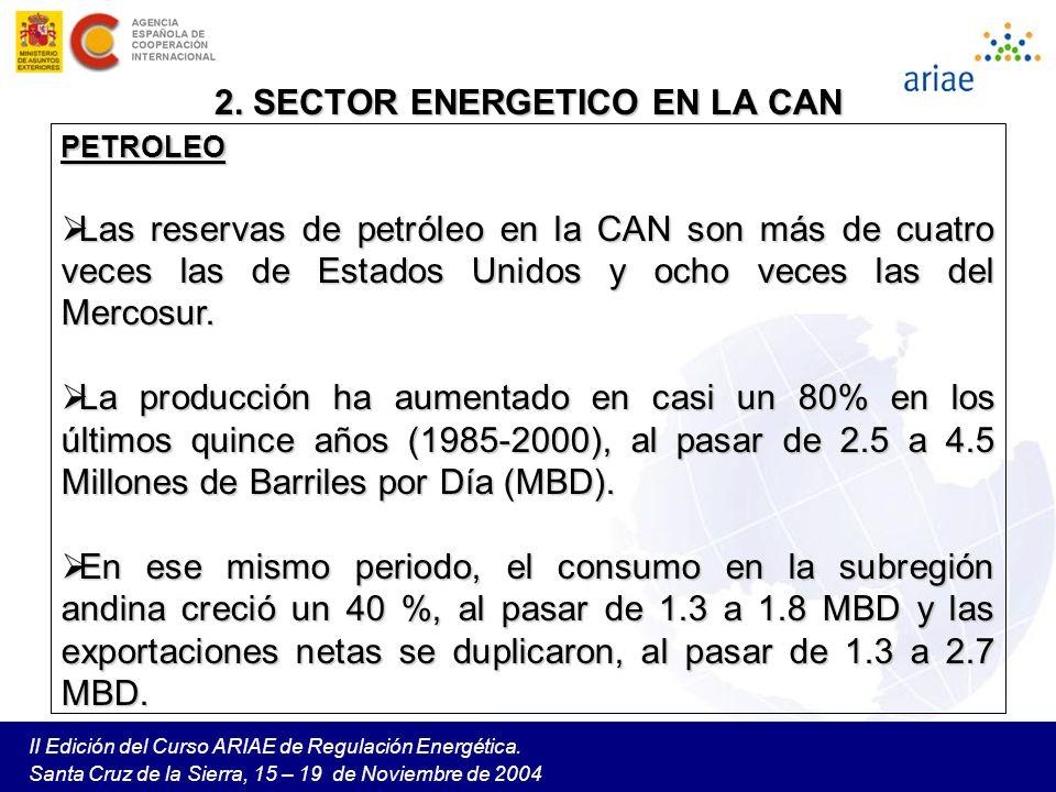 II Edición del Curso ARIAE de Regulación Energética. Santa Cruz de la Sierra, 15 – 19 de Noviembre de 2004 PETROLEO Las reservas de petróleo en la CAN
