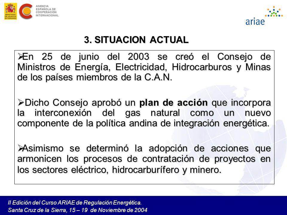 II Edición del Curso ARIAE de Regulación Energética. Santa Cruz de la Sierra, 15 – 19 de Noviembre de 2004 En 25 de junio del 2003 se creó el Consejo
