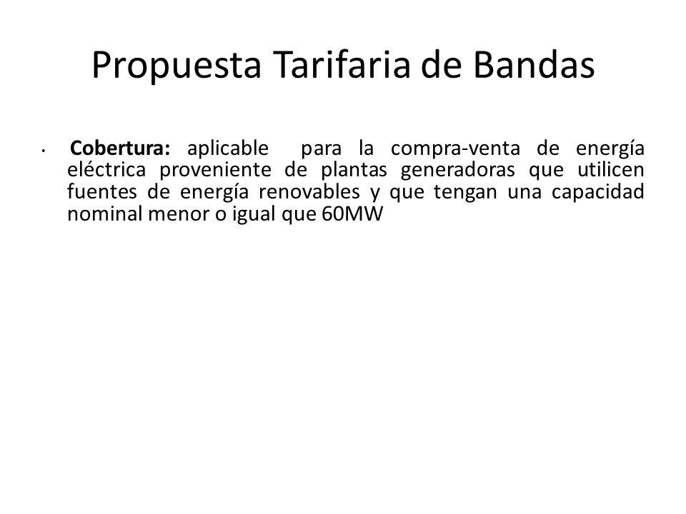 Propuesta Tarifaria de Bandas Cobertura: aplicable para la compra-venta de energía eléctrica proveniente de plantas generadoras que utilicen fuentes d