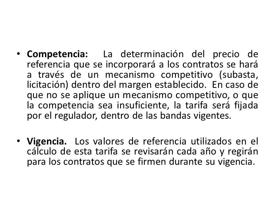 Competencia: La determinación del precio de referencia que se incorporará a los contratos se hará a través de un mecanismo competitivo (subasta, licit