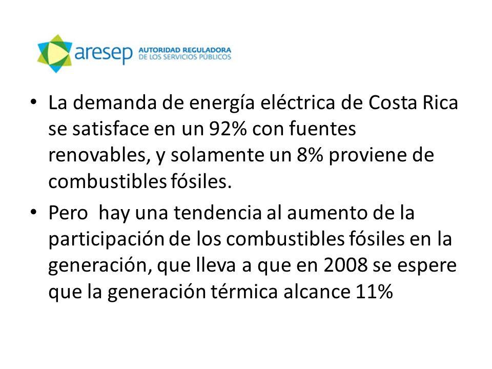 La demanda de energía eléctrica de Costa Rica se satisface en un 92% con fuentes renovables, y solamente un 8% proviene de combustibles fósiles. Pero
