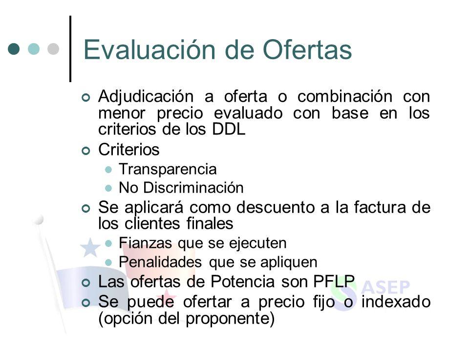 Evaluación de Ofertas Adjudicación a oferta o combinación con menor precio evaluado con base en los criterios de los DDL Criterios Transparencia No Di