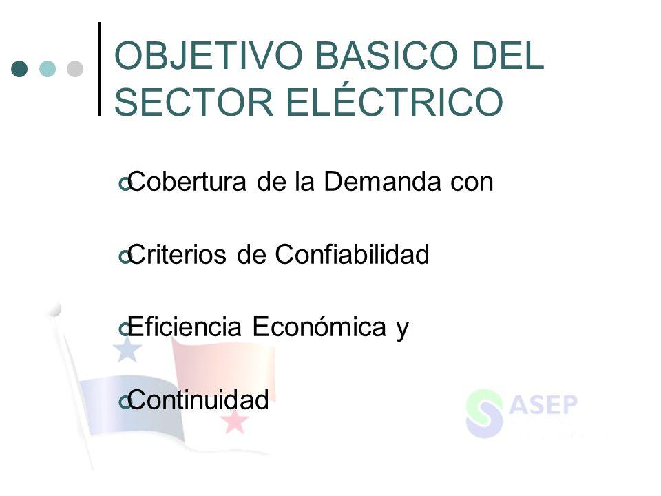 OBJETIVO BASICO DEL SECTOR ELÉCTRICO Cobertura de la Demanda con Criterios de Confiabilidad Eficiencia Económica y Continuidad