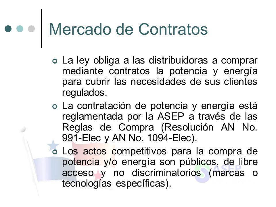 Mercado de Contratos La ley obliga a las distribuidoras a comprar mediante contratos la potencia y energía para cubrir las necesidades de sus clientes