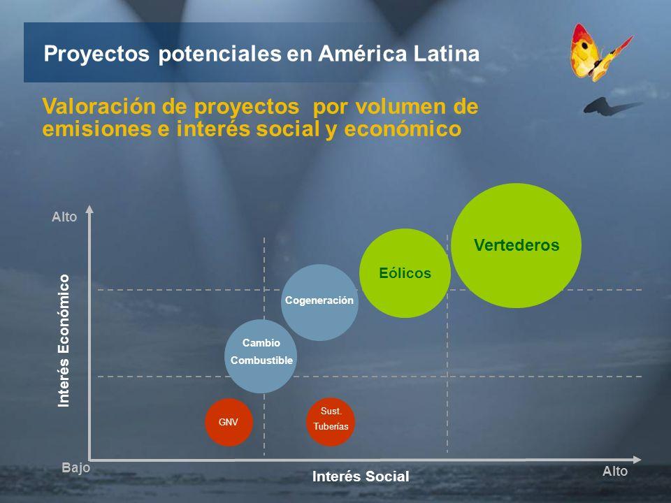 Interés Económico Interés Social Bajo Alto Vertederos Eólicos Cogeneración Cambio Combustible Sust.