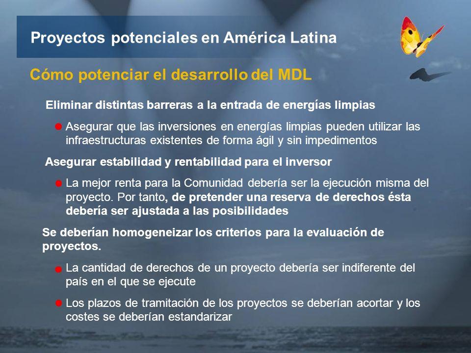 Proyectos potenciales en América Latina Cómo potenciar el desarrollo del MDL Eliminar distintas barreras a la entrada de energías limpias Asegurar que las inversiones en energías limpias pueden utilizar las infraestructuras existentes de forma ágil y sin impedimentos Asegurar estabilidad y rentabilidad para el inversor La mejor renta para la Comunidad debería ser la ejecución misma del proyecto.