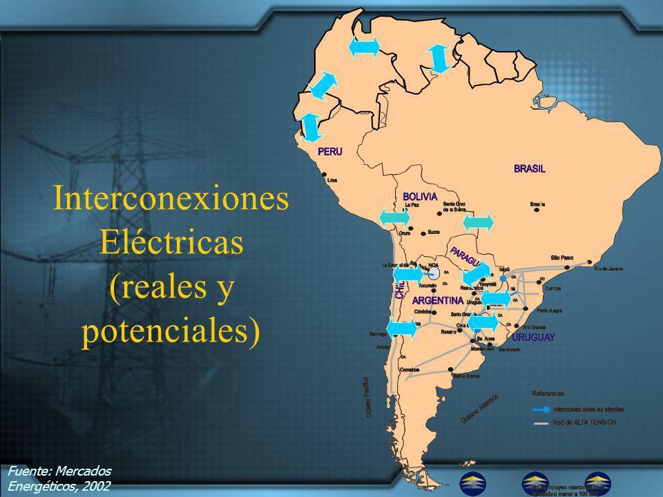Interconexiones Eléctricas (reales y potenciales) Fuente: Mercados Energéticos, 2002