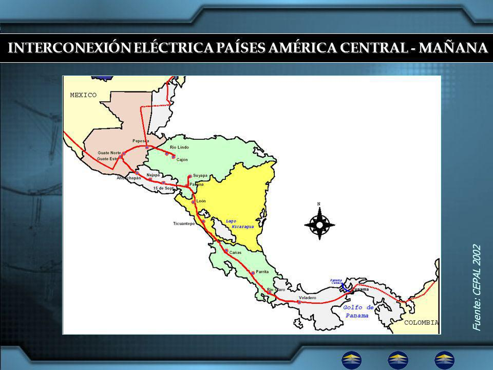 Fuente: CEPAL 2002 INTERCONEXIÓN ELÉCTRICA PAÍSES AMÉRICA CENTRAL - MAÑANA