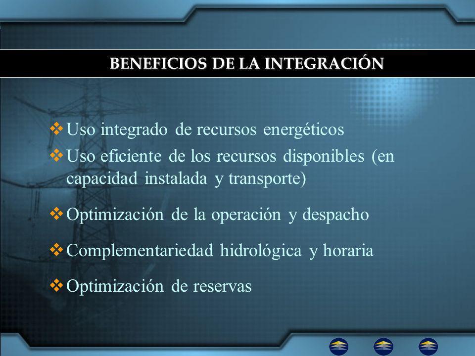 Uso integrado de recursos energéticos Uso eficiente de los recursos disponibles (en capacidad instalada y transporte) Optimización de la operación y despacho Complementariedad hidrológica y horaria Optimización de reservas BENEFICIOS DE LA INTEGRACIÓN