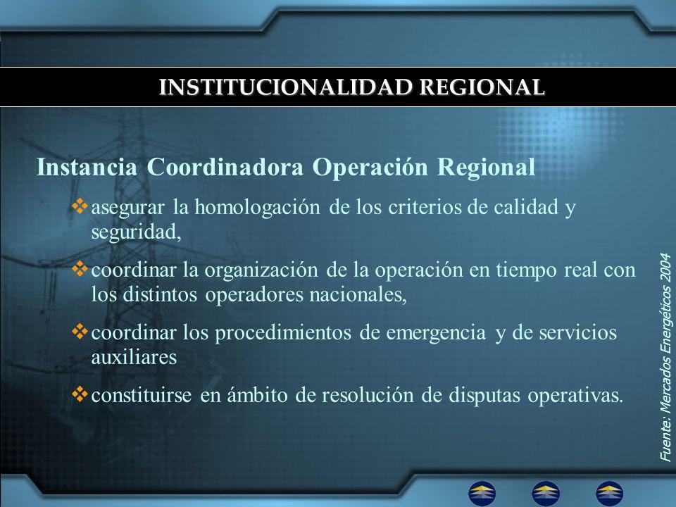 Instancia Coordinadora Operación Regional asegurar la homologación de los criterios de calidad y seguridad, coordinar la organización de la operación en tiempo real con los distintos operadores nacionales, coordinar los procedimientos de emergencia y de servicios auxiliares constituirse en ámbito de resolución de disputas operativas.