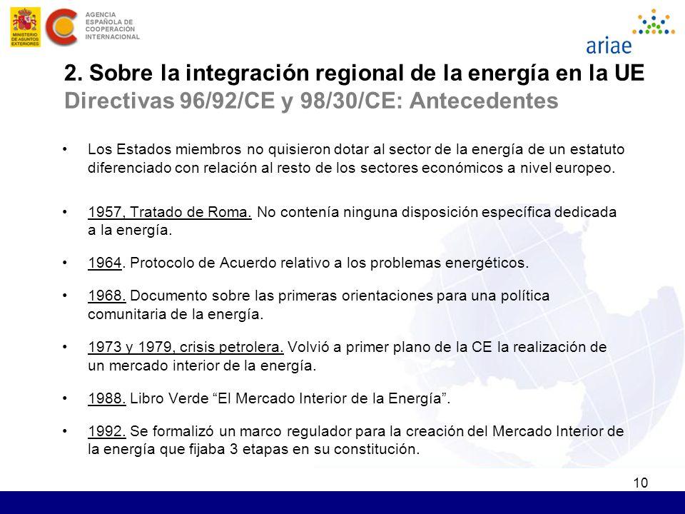 10 2. Sobre la integración regional de la energía en la UE Directivas 96/92/CE y 98/30/CE: Antecedentes Los Estados miembros no quisieron dotar al sec