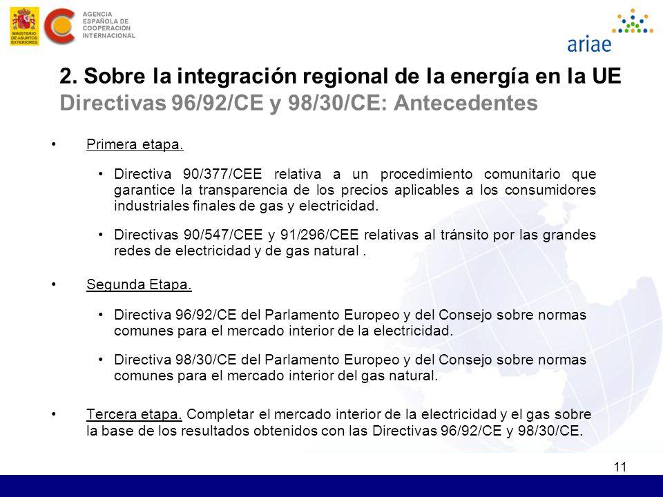 11 2. Sobre la integración regional de la energía en la UE Directivas 96/92/CE y 98/30/CE: Antecedentes Primera etapa. Directiva 90/377/CEE relativa a