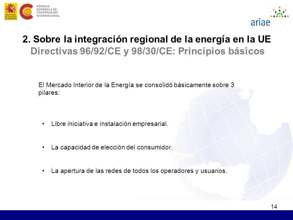 14 2. Sobre la integración regional de la energía en la UE Directivas 96/92/CE y 98/30/CE: Principios básicos El Mercado Interior de la Energía se con