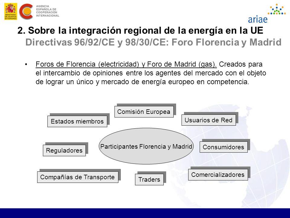 15 Participantes Florencia y Madrid Comisión Europea Usuarios de Red Consumidores Comercializadores Traders Compañías de Transporte Reguladores Estado