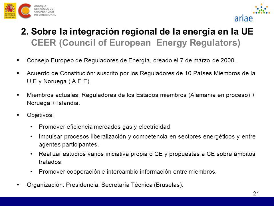 21 2. Sobre la integración regional de la energía en la UE CEER (Council of European Energy Regulators) Consejo Europeo de Reguladores de Energía, cre