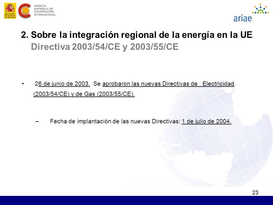23 26 de junio de 2003. Se aprobaron las nuevas Directivas de Electricidad (2003/54/CE) y de Gas (2003/55/CE). –Fecha de implantación de las nuevas Di