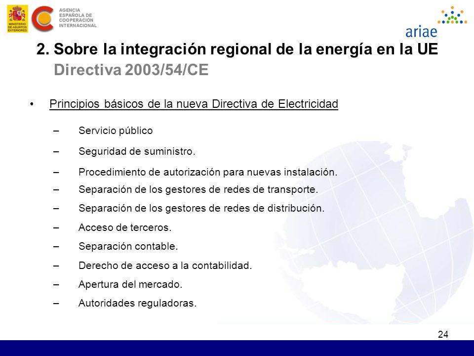 24 Principios básicos de la nueva Directiva de Electricidad –Servicio público –Seguridad de suministro. –Procedimiento de autorización para nuevas ins