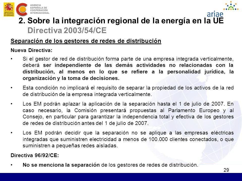 29 Separación de los gestores de redes de distribución Nueva Directiva: Si el gestor de red de distribución forma parte de una empresa integrada verti