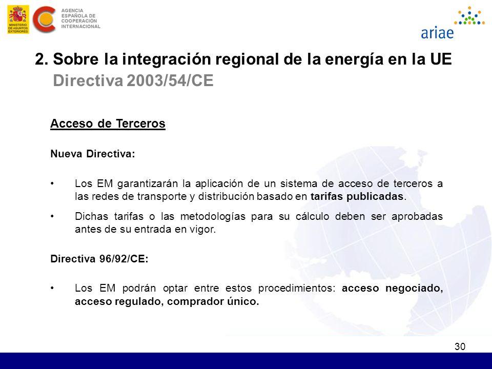 30 Acceso de Terceros Nueva Directiva: Los EM garantizarán la aplicación de un sistema de acceso de terceros a las redes de transporte y distribución