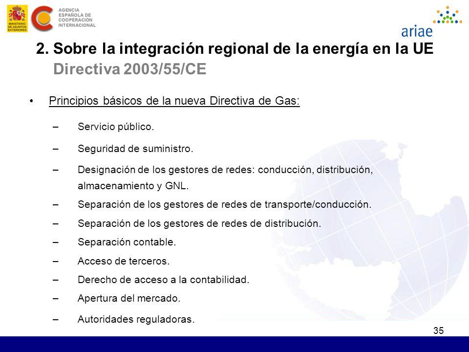 35 Principios básicos de la nueva Directiva de Gas: –Servicio público. –Seguridad de suministro. –Designación de los gestores de redes: conducción, di