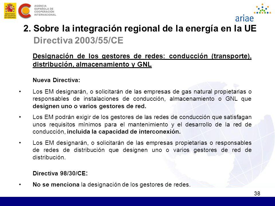 38 Designación de los gestores de redes: conducción (transporte), distribución, almacenamiento y GNL Nueva Directiva: Los EM designarán, o solicitarán