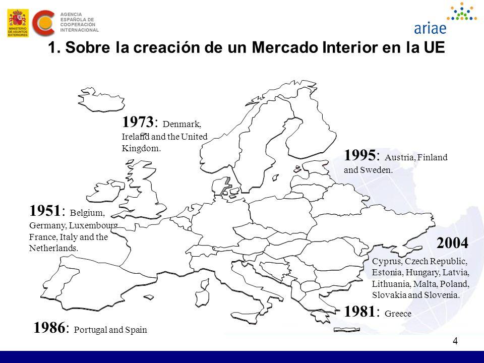 4 1. Sobre la creación de un Mercado Interior en la UE 1951: Belgium, Germany, Luxembourg, France, Italy and the Netherlands. 1973: Denmark, Ireland a