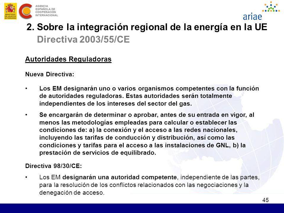 45 Autoridades Reguladoras Nueva Directiva: Los EM designarán uno o varios organismos competentes con la función de autoridades reguladoras. Estas aut