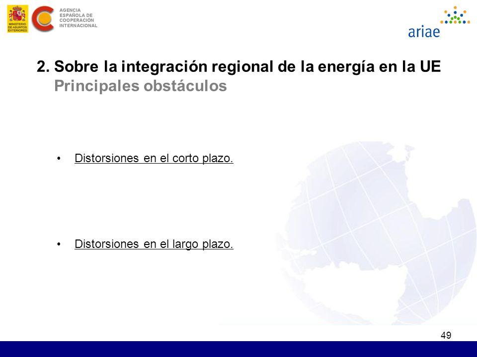 49 2. Sobre la integración regional de la energía en la UE Principales obstáculos Distorsiones en el corto plazo. Distorsiones en el largo plazo.