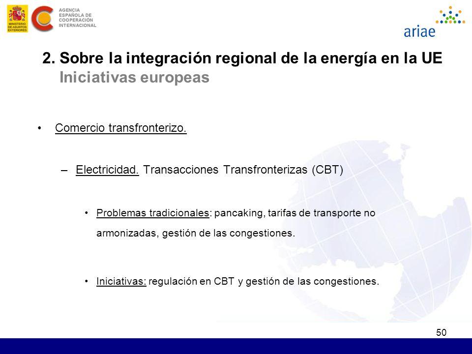 50 2. Sobre la integración regional de la energía en la UE Iniciativas europeas Comercio transfronterizo. –Electricidad. Transacciones Transfronteriza