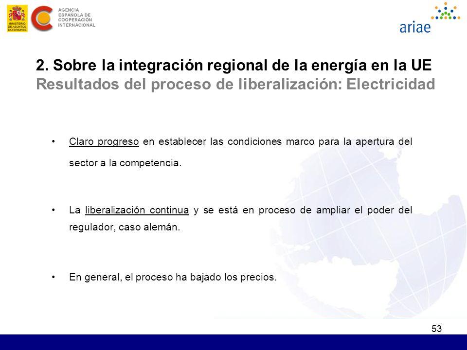 53 2. Sobre la integración regional de la energía en la UE Resultados del proceso de liberalización: Electricidad Claro progreso en establecer las con