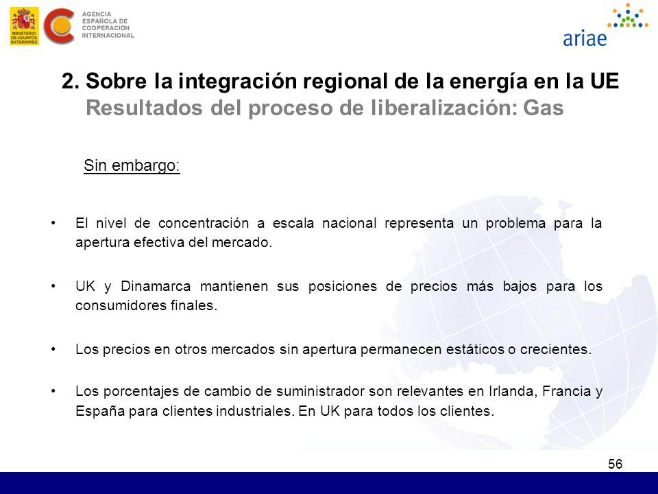 56 2. Sobre la integración regional de la energía en la UE Resultados del proceso de liberalización: Gas Sin embargo: El nivel de concentración a esca