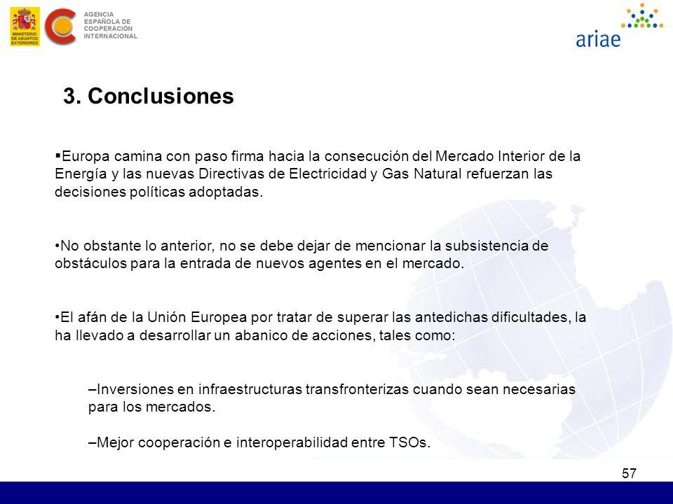 57 3. Conclusiones Europa camina con paso firma hacia la consecución del Mercado Interior de la Energía y las nuevas Directivas de Electricidad y Gas