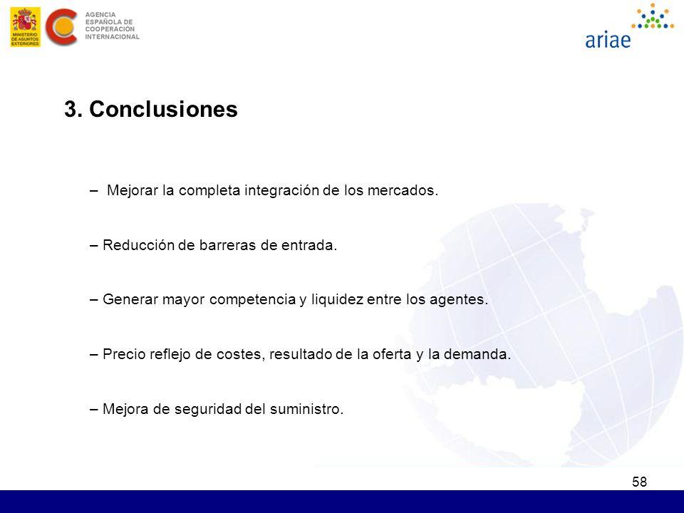 58 3. Conclusiones – Mejorar la completa integración de los mercados. – Reducción de barreras de entrada. – Generar mayor competencia y liquidez entre