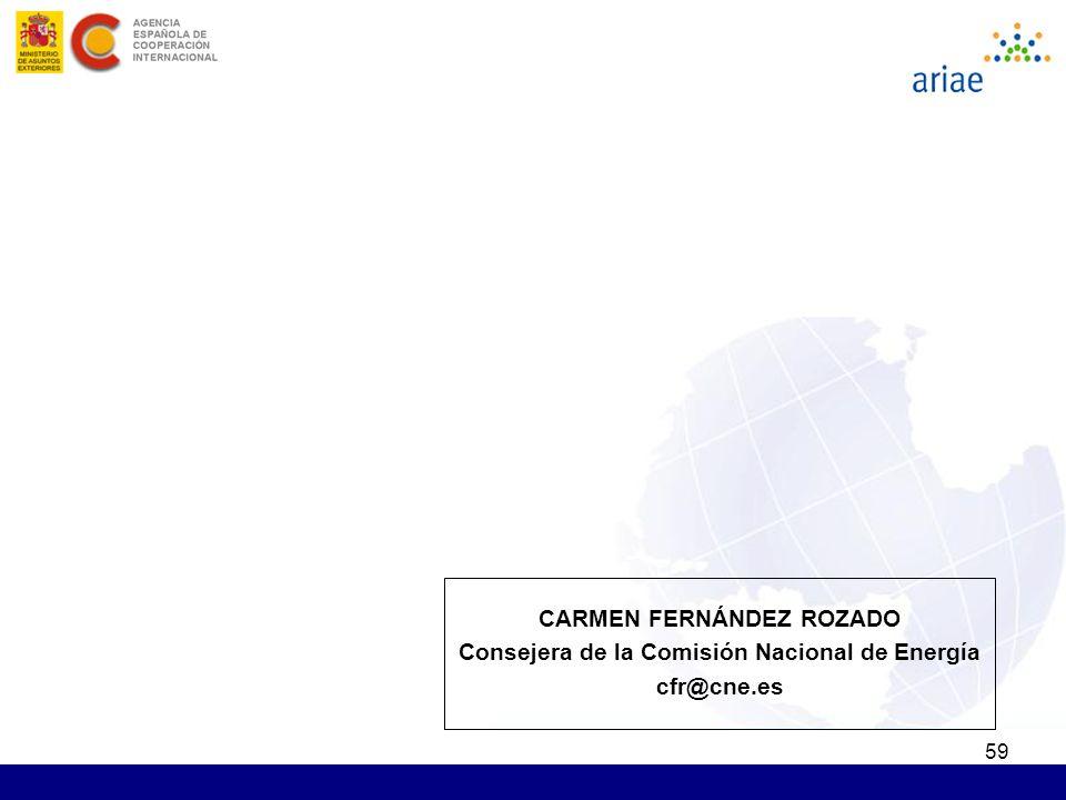 59 CARMEN FERNÁNDEZ ROZADO Consejera de la Comisión Nacional de Energía cfr@cne.es