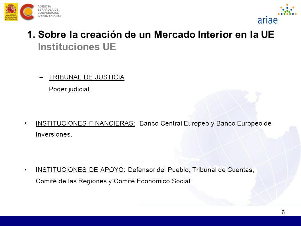 6 –TRIBUNAL DE JUSTICIA Poder judicial. INSTITUCIONES FINANCIERAS: Banco Central Europeo y Banco Europeo de Inversiones. INSTITUCIONES DE APOYO: Defen
