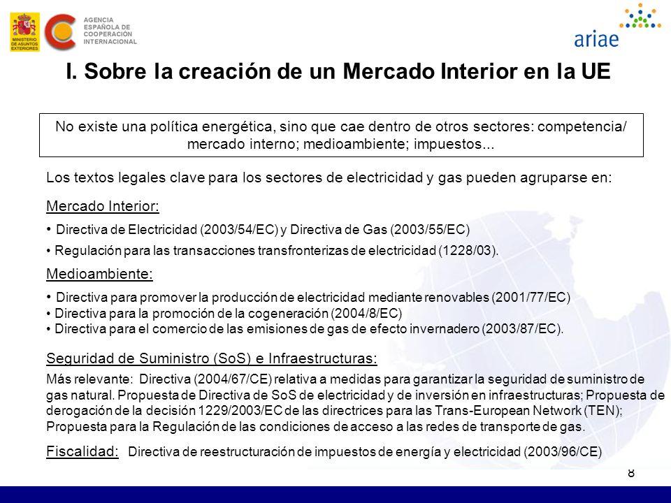 8 I. Sobre la creación de un Mercado Interior en la UE No existe una política energética, sino que cae dentro de otros sectores: competencia/ mercado