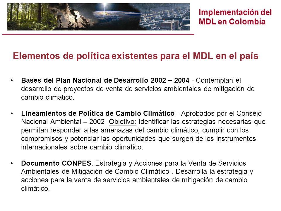 Implementación del MDL en Colombia Marco institucional para el MDL Designación de la Autoridad Nacional : Ministerio de Ambiente, Vivienda y Desarrollo Territorial.