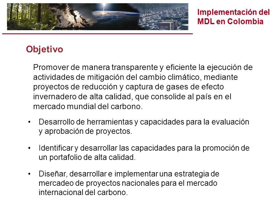Implementación del MDL en Colombia Objetivo Promover de manera transparente y eficiente la ejecución de actividades de mitigación del cambio climático, mediante proyectos de reducción y captura de gases de efecto invernadero de alta calidad, que consolide al país en el mercado mundial del carbono.