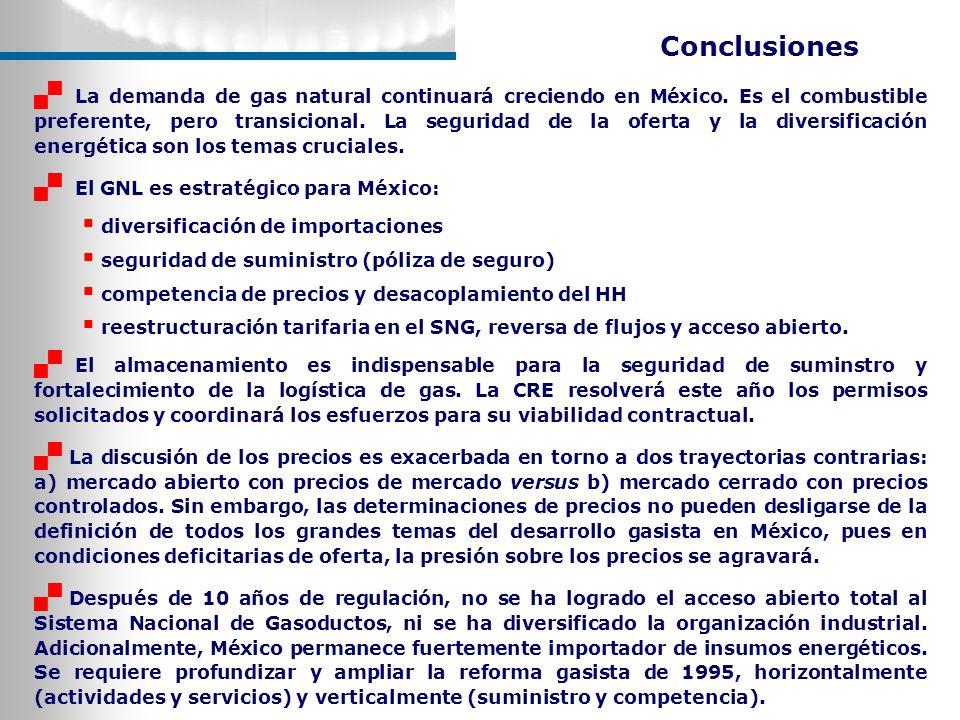 Conclusiones La demanda de gas natural continuará creciendo en México. Es el combustible preferente, pero transicional. La seguridad de la oferta y la