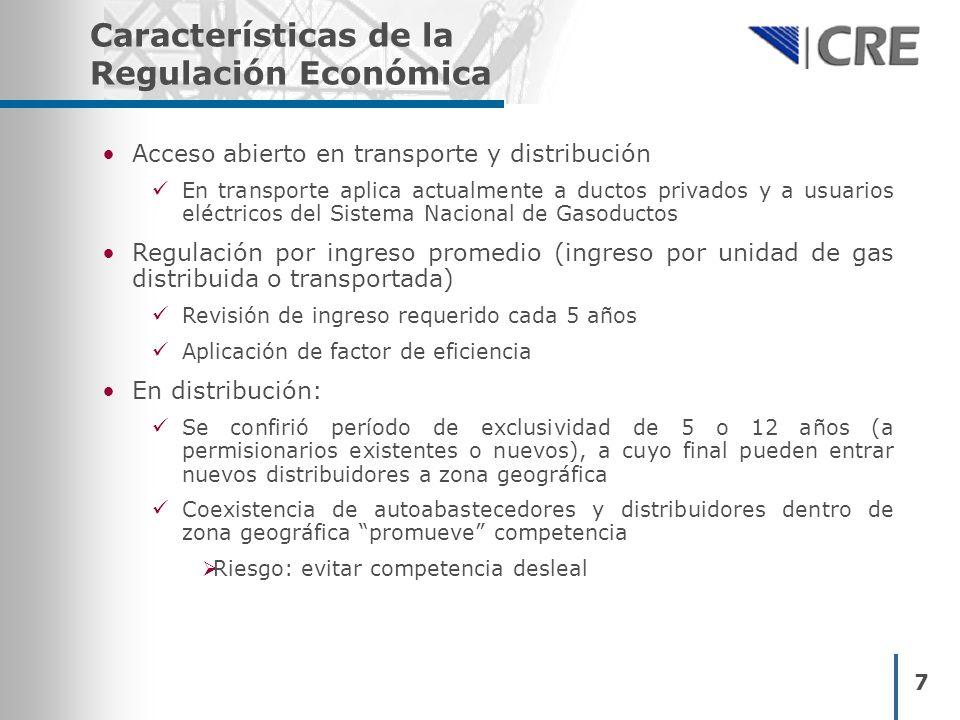 8 Permisos otorgados por la CRE en Gas Natural Total PermisosLongitud (km) Inversiones Comprometidas (millones USD) Transporte11311,5401,662 Distribución2126,097988 Almacenam.4N.A.*2,336 TOTAL13837,6374,986 Mayo 2003- Mayo 2004 PermisosLongitud (km) Inversiones Comprometidas (millones USD) Transporte1035.219 Distribución000 Almacenam.3N.A.*1,786 TOTAL1335.21,805 * Proyectos de GNL con capacidad de 1,250,000 metros cúbicos * Proyectos de GNL con capacidad de 970,000 metros cúbicos