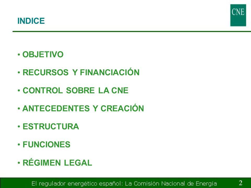 INDICE 3 OBJETIVO RECURSOS Y FINANCIACIÓN CONTROL SOBRE LA CNE ANTECEDENTES Y CREACIÓN ESTRUCTURA FUNCIONES RÉGIMEN LEGAL