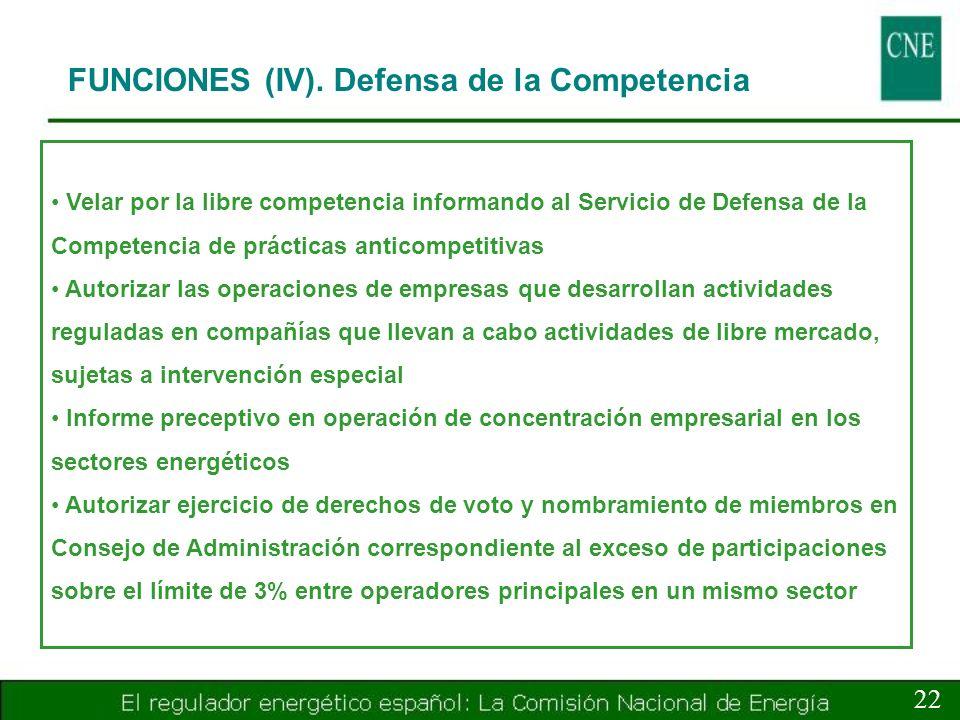 FUNCIONES (IV). Defensa de la Competencia 22 Velar por la libre competencia informando al Servicio de Defensa de la Competencia de prácticas anticompe