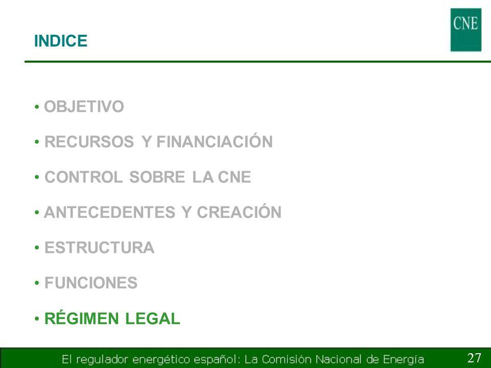 INDICE 27 OBJETIVO RECURSOS Y FINANCIACIÓN CONTROL SOBRE LA CNE ANTECEDENTES Y CREACIÓN ESTRUCTURA FUNCIONES RÉGIMEN LEGAL
