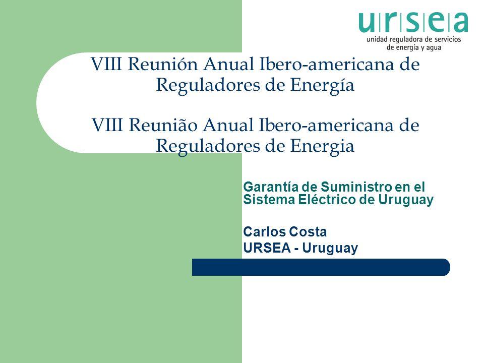 VIII Reunión Anual Ibero-americana de Reguladores de Energía VIII Reunião Anual Ibero-americana de Reguladores de Energia Garantía de Suministro en el