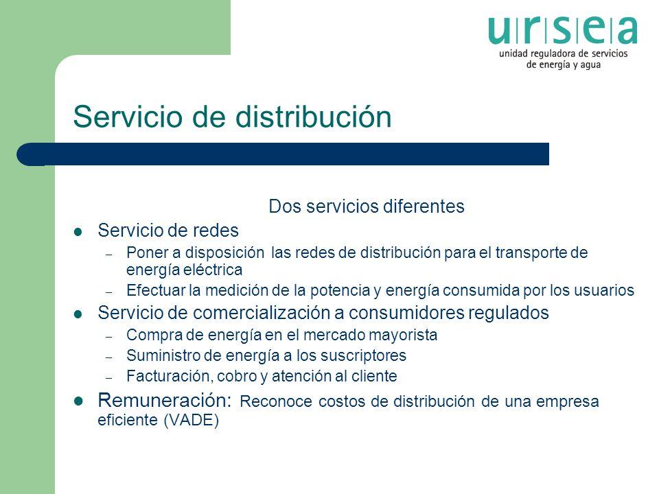 Servicio de distribución Dos servicios diferentes Servicio de redes – Poner a disposición las redes de distribución para el transporte de energía eléc