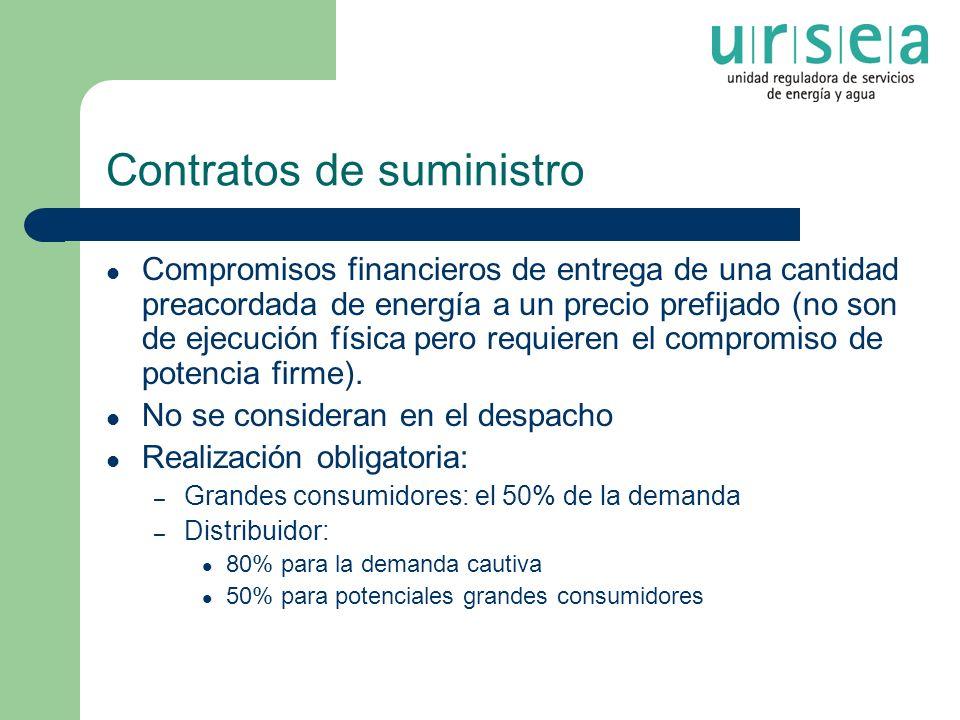 Contratos de suministro Compromisos financieros de entrega de una cantidad preacordada de energía a un precio prefijado (no son de ejecución física pe