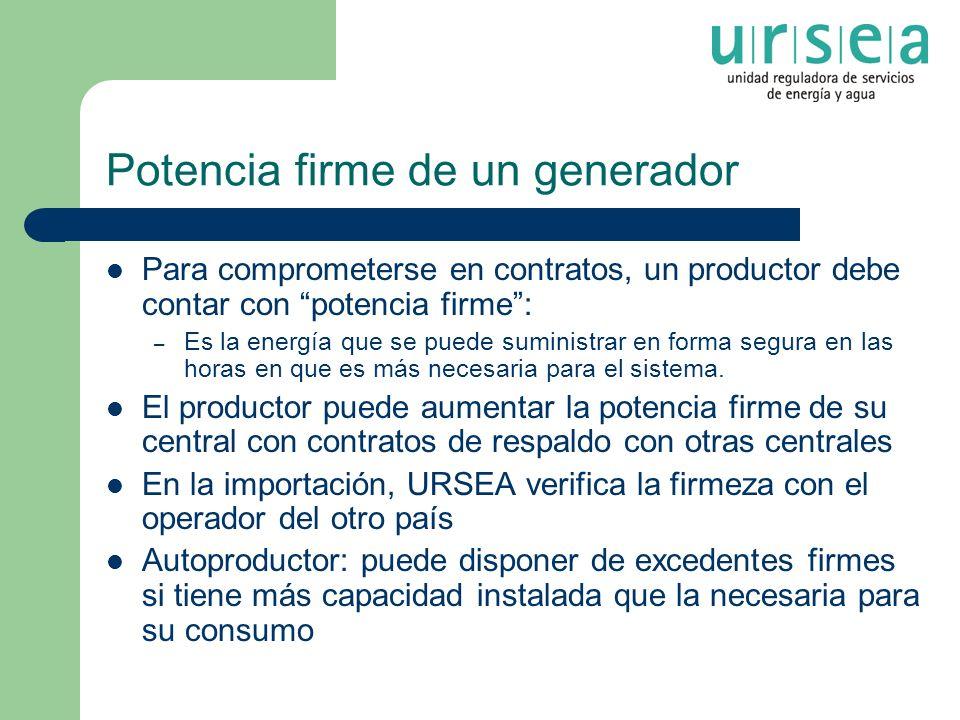 Potencia firme de un generador Para comprometerse en contratos, un productor debe contar con potencia firme: – Es la energía que se puede suministrar