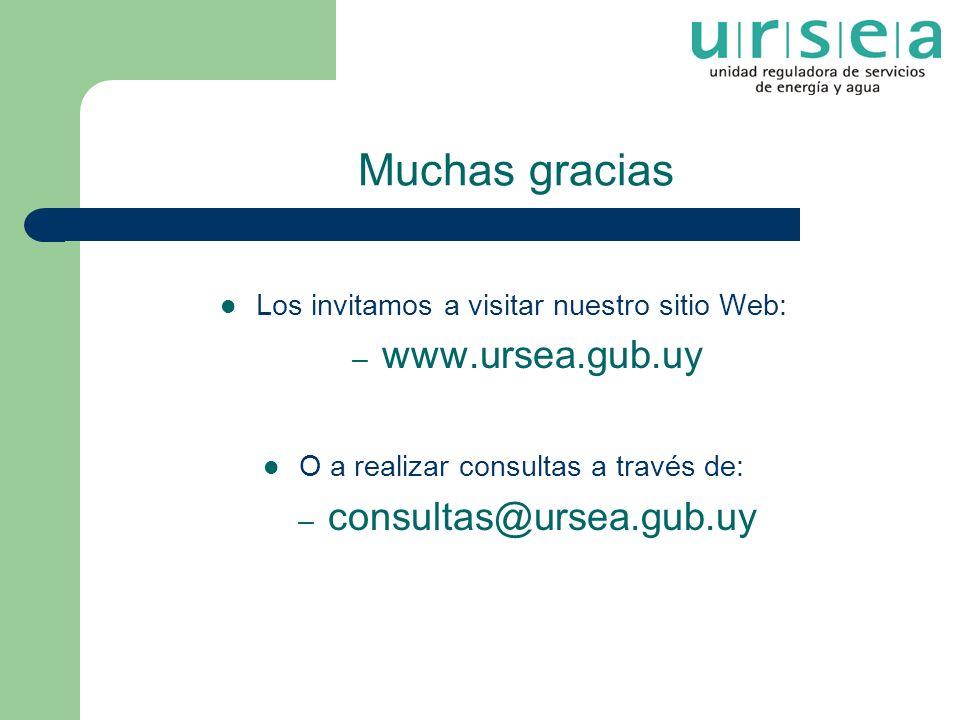 Muchas gracias Los invitamos a visitar nuestro sitio Web: – www.ursea.gub.uy O a realizar consultas a través de: – consultas@ursea.gub.uy