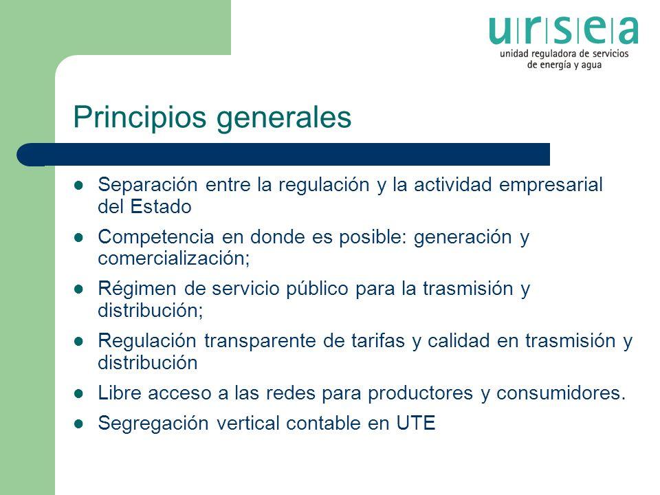 Principios generales Separación entre la regulación y la actividad empresarial del Estado Competencia en donde es posible: generación y comercializaci