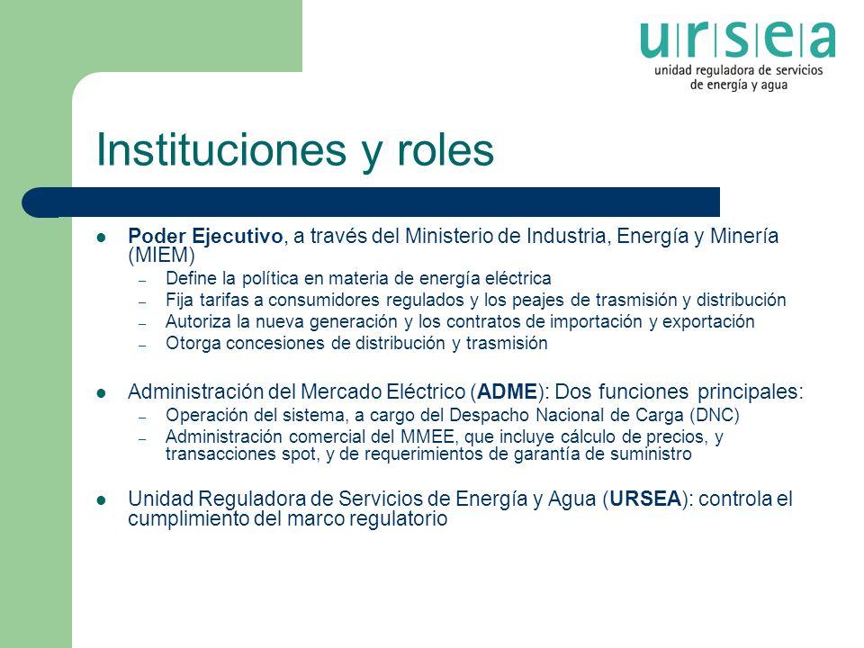 Instituciones y roles Poder Ejecutivo, a través del Ministerio de Industria, Energía y Minería (MIEM) – Define la política en materia de energía eléct